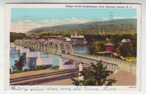 P171 JLs postcard 1948 owego ny old cars bridge susquehanna