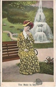 Antique 1908 Postcard Comic Old Maid The Male Is Late! Yellow Floral Dress