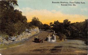 KANSAS CITY MISSOURI ROANOKE ROADWAY IN PENN VALLEY PARK POSTCARD c1910s