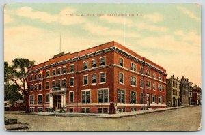 Bloomington Illinois~YMCA Building~Sandwich Signs~Buildings Down Street~1910 PC