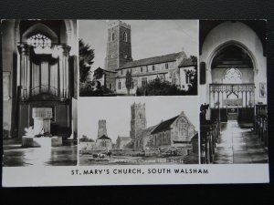 Norfolk SOUTH WALSHAM ST. Mary's Churches 4 Image Multiview - Old RP Postcard