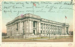 Indianapolis IN Court House & Post Office 1907 Postcard to Annie Merle Reynolds