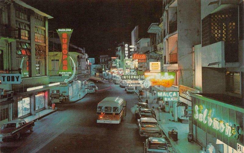 Central Avenue Night View PANAMA CITY Street Scene Neon c1960s Vintage Postcard