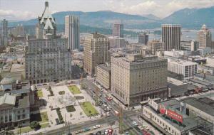 VANCOUVER, British Columbia, Canada, 1940-1960's; Birdseye View Of Georgia St...