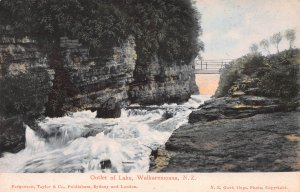 Outlet of Lake, Waikaremoana, New Zealand, Early Postcard, Unused