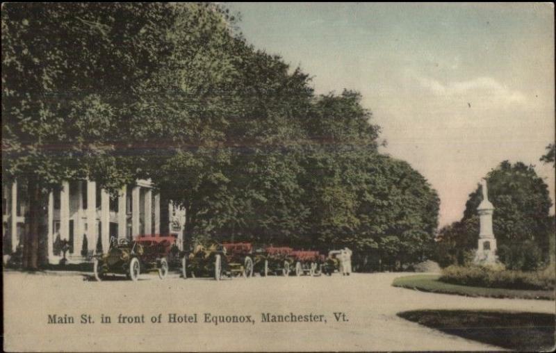 Manchester VT Main St. Old Cars c1910 Postcard