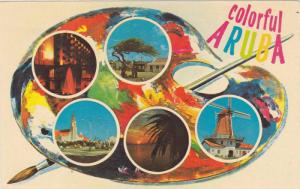 5-Views ofColorful Aruba, Night, Sunset, Windmill, City Square & Country Scen...