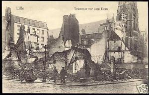 france, LILLE, Décombres devant la Cathédrale 1915 WWI