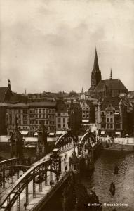 poland, SZCZECIN STETTIN, Hansabrücke (1928) RPPC