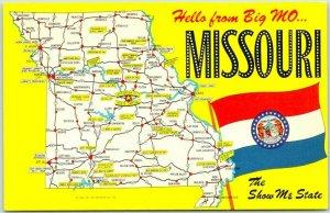 MISSOURI State Map Postcard Comic Drawings / State Flag Mirro-Krome Chrome 1966