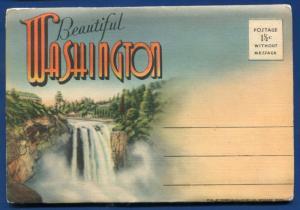 Beautiful Washington Mt Rainier Baker Lake Crescent postcard folder