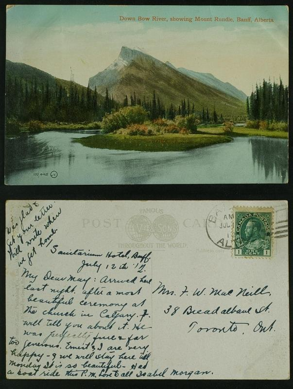 Down Bow  River showing mount Rundle Banff  duplex pmk 1912