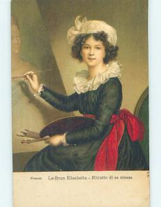 Pre-Linen foreign PRETTY ITALIAN GIRL PAINTING A PORTRAIT IN ITALY HL7992
