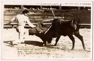 RPPC, Bull Fighting, Villa Acuna, Coah Mex