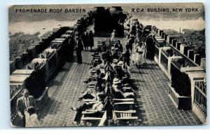 RCA Building NYC New York City Promenade Roof Garden Patio Lounge Postcard C76