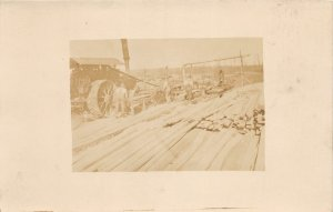 F42/ Occupational RPPC Postcard c1910 Steam Tractor Saw Mill Men 7