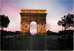 Modern Postcard Paris at night Arc de Triomphe