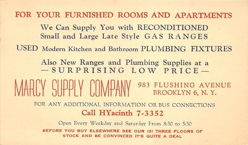 Brooklyn New York Marcy Supply Co Used Appliances Plumbing Store Ad