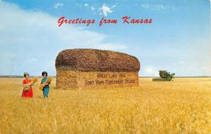 Kansas~Field Of Wheat And A Giant Loaf Of Bread~1960 Postcard