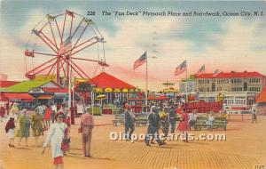 Ocean City, New Jersey, NJ, USA Postcard The Fun Deck, Plymouth Place and Boa...