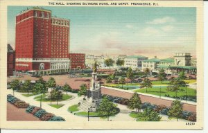 The Mall, Showing Biltmore Hotel And Depot, Providence R.I.