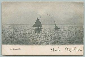 Baltimore Maryland?~Moonlight Sail~2 Sailboats on Water~1904 B&W Postcard