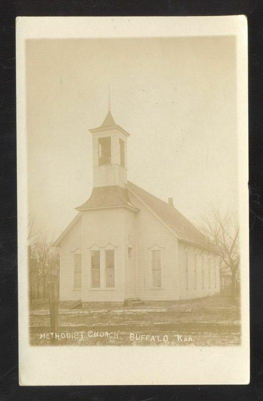 RPPC BUFFALO KANSAS METHODIST CHURCH VINTAGE REAL PHOTO POSTCARD 1914