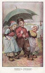 CHILDREN; 1900-1910's; Boy With Two Girls, Three's Company