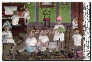 Old Postcard Fun Children Baby Music Piano
