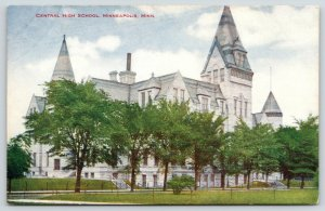 Minneapolis Minnesota~Central High School~Row of Trees Along Front~c1910