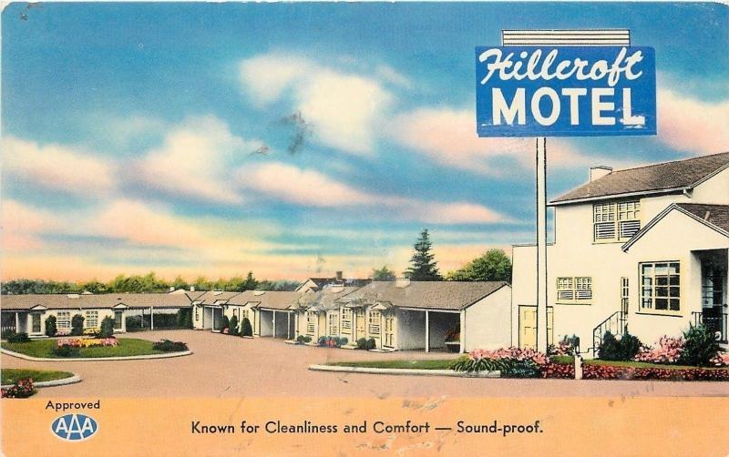 San Leandro CaliforniaHillcroft MotelAAA1950s Postcard HipPostcard
