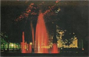 Butler Pennsylvania~Diamond Park~Lit-Up Fountain @ Night~1950s Postcard