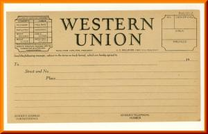 Vintage Western Union Blank Telegram, Circa 1930's