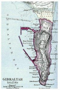 Vintage reproduction Gibraltar Map Card Postcard 21P
