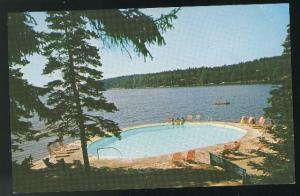 ME Linekin Bay Camp Resort Heated Saltwate Pool Boothbay Harbor Vintage Postcard