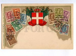 213926 ITALY coat of arms FLAG stamps Old embossed postcard