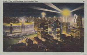Illinois Chicago Merchandise Mart At Night 1944