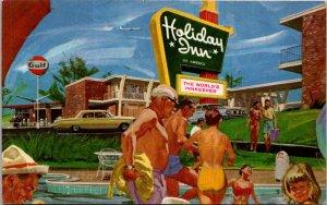 Holiday Inn Walterboro SC Gulf Gas Pool Swimmers Great Illustration vtg Postcard