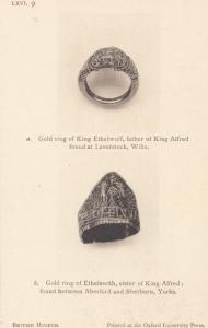 King Ethelwulf Ethelswith Alfred Ring Jewellery Sherburn Yorkshire Old Postcard