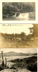 3 RPPC's - Waterfall/Dam, Livestock, Hotel on Lake     *RPPC