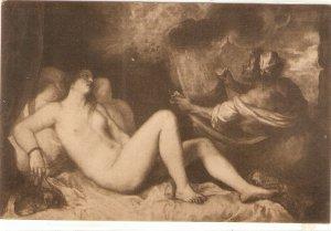 Tiziano. Risque nude. Danae Fine painting, vintage Spanish postcard
