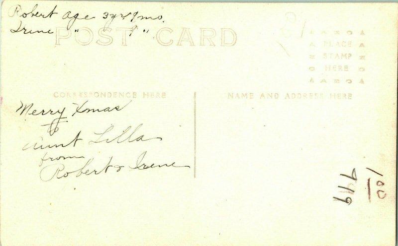 Vtg Cppr Studio Vue 1904-18 Azo Adorable Enfants Robert & Irene Unp