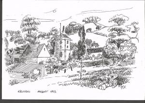 Postcard Art Sketch KELSTON Village Somerset