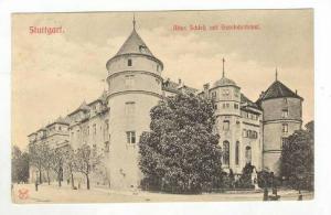 Street & Altes Schloz mit Gerokdenkmal,Stuttgart,Germany 1907 PU