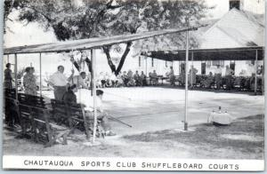 Chautauqua New York Postcard CHAUTAUQUA SPORTS CLUB Shuffleboard Courts c1940s
