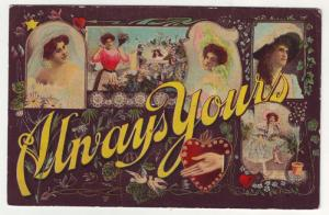 P103 JLs 1909 antique postcard always yours woman heart