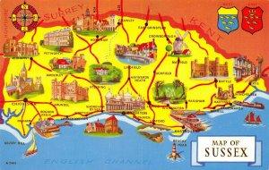 Map Postcard Sussex Chichester, Rye, Hastings, Eastbourne, Brighton, Horsham BC4