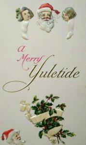 Santa A Merry Yuletide Christmas Postcard Heads Inside Stockings Series C-176