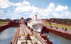 Panama Old Vintage Antique Post Card Tourist Liner SS Kungsholm Panama Canal ...