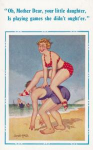 Leap Frog On Beach Rude Piggy Back Comic Humour Postcard